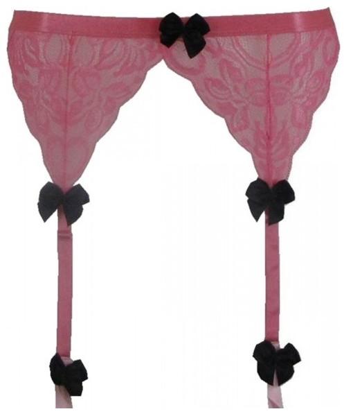 Pink Garter Belt With Black Bows