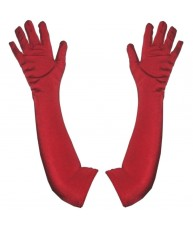 Elbow Length Red Satin Opera Gloves