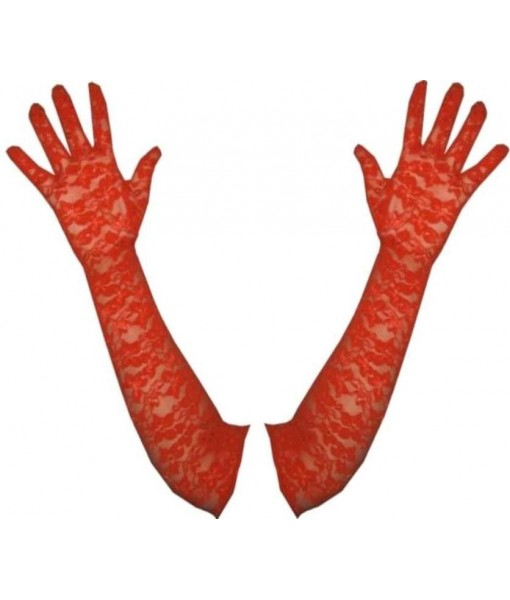 Elbow Length Red Lace Opera Gloves