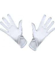 White Satin Wrist Length Gloves