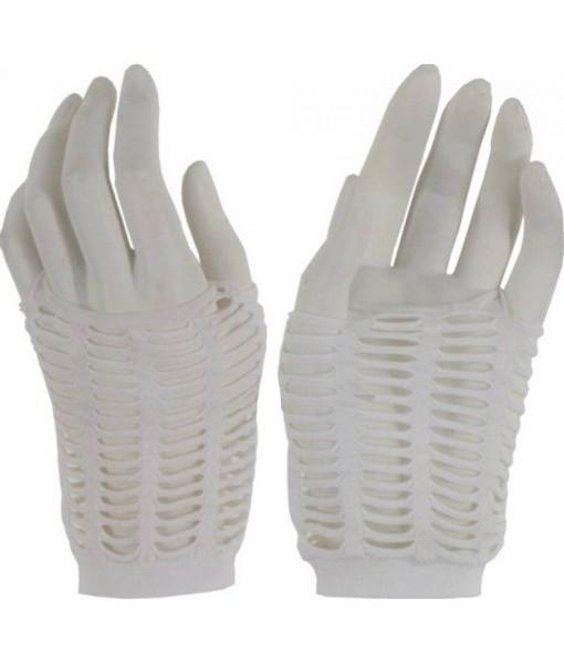 White Fingerless Fishnet Gloves