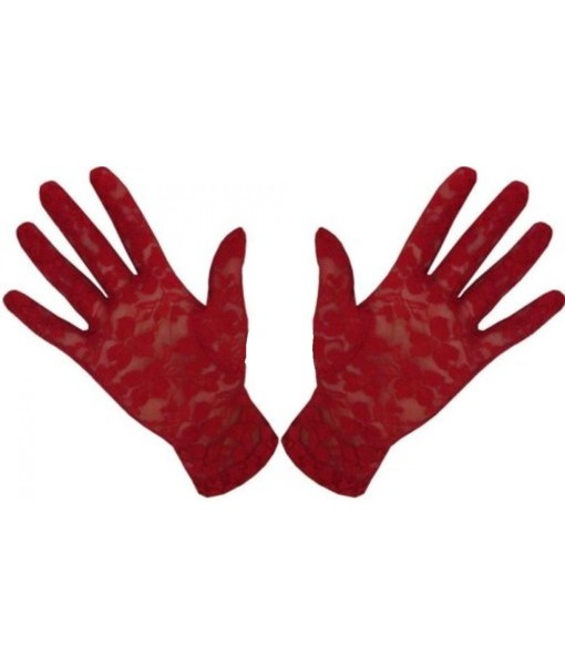 Red Lace Wrist Length Gloves