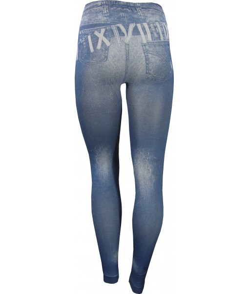 Jeans Over Jeans Print Jeggings