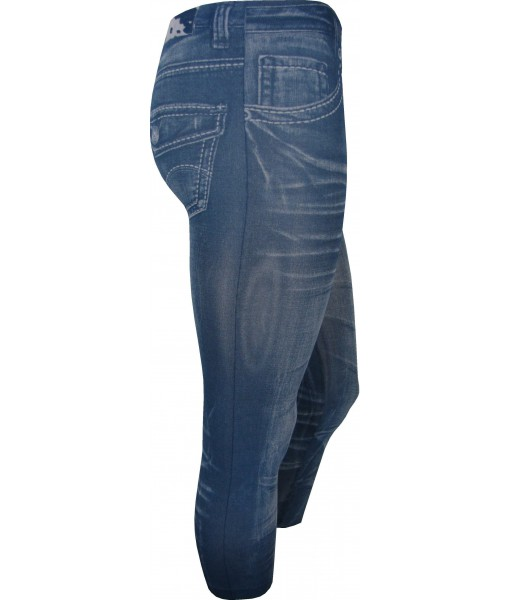 Blue 3/4 Length Faded Lines Print Jeggings