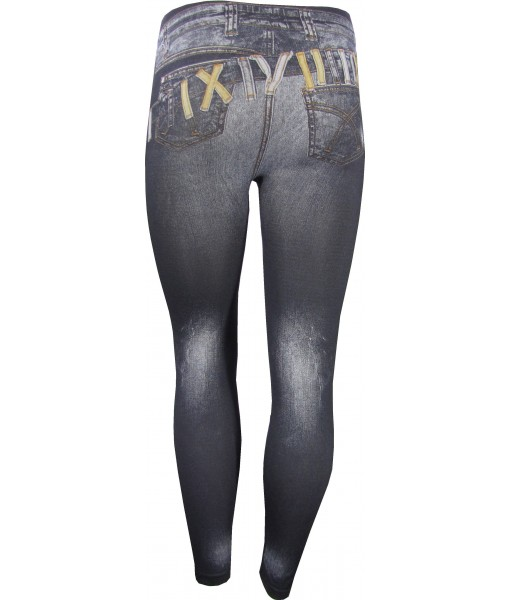 Jeans Over Jeans Print Grey Jeggings
