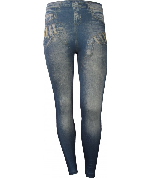 Jeans Over Jeans Print Blue Jeggings