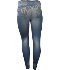 Jeans Over Jeans Print Blue Jeggings