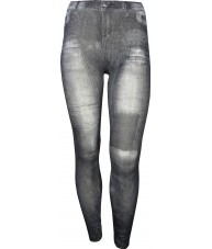 Black Jeggings Grey Stone Wash Patches Print
