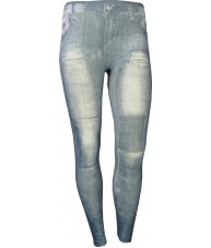 Stone Wash Patches Print Blue Jeggings