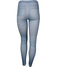 Light Blue Studded Pockets Print Jeggings