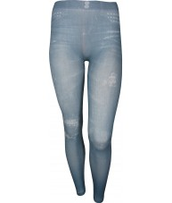 Light Blue Studded Pockets Print Jeggings
