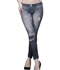 Black Studded Pockets Print Jeggings