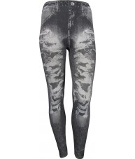 Black Jeggings Grey Stonewash with Rips Throughout Print