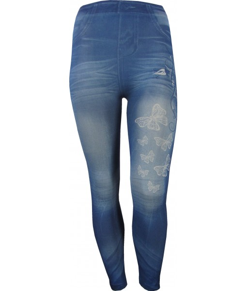 Blue Jeggings with Butterflies Print