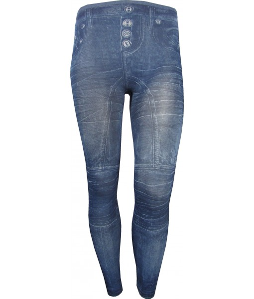 Blue Jeggings Faded Print with Creases Print