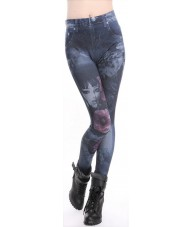 Blue Jeggings Faded Girl & Clouds Denim Print