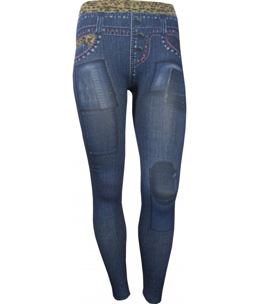 Blue Jeggings With Denim Leopard Print Trim