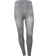 Grey Jeggings With Creases Print