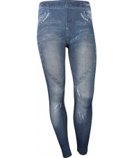 Blue Jeggings With Love Heart Across Thighs