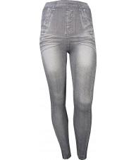 Grey Jeggings with Zipper Legs Print