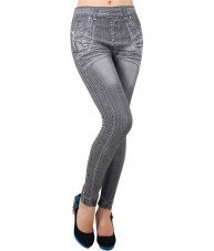 Grey Jeggings with Zipper Legs Print