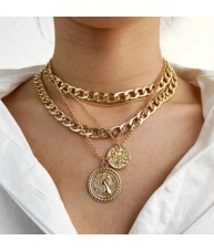 Chunky Layered Gold Coin Pendant Necklace