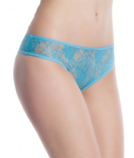 Hipster Brazilian Blue Lace Crotchless Briefs