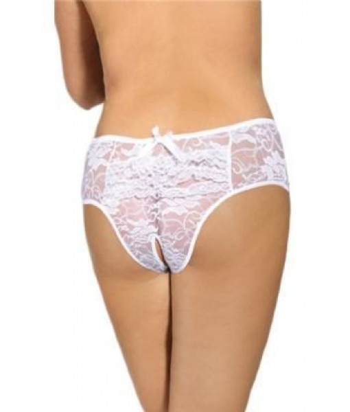 Hipster Brazilian White Lace Crotchless Briefs