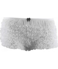 Sheer White Full Brief Frilly Knickers