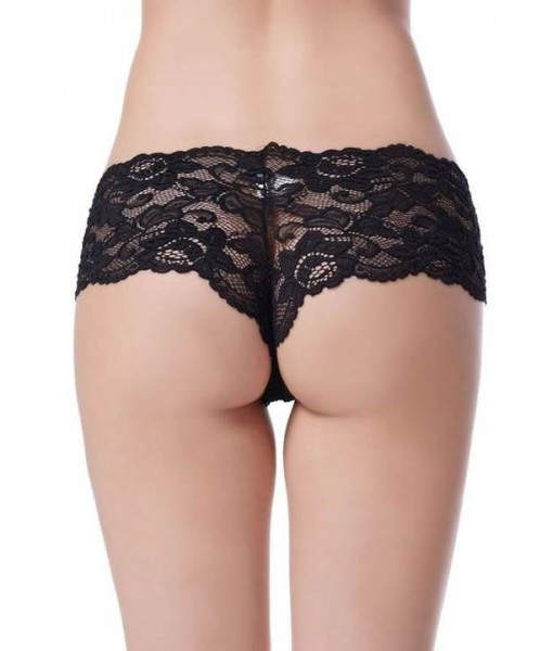 Sheer Black Floral Stretch Lace Shorties