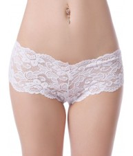Sheer White Floral Stretch Lace Shorties