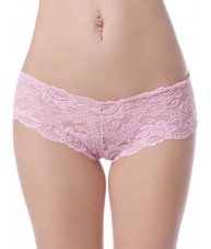 Sheer Pink Floral Stretch Lace Shorties