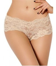 Sheer Beige Floral Stretch Lace Shorties