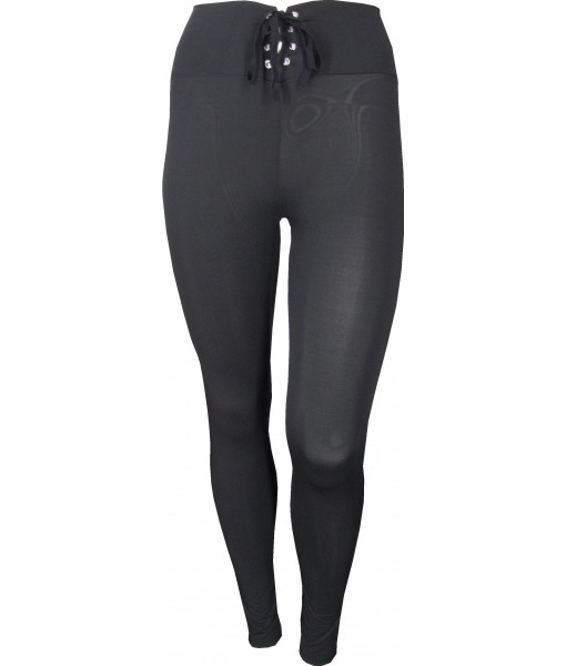 High Waisted Black Pants/Tights With Tie Up Waist