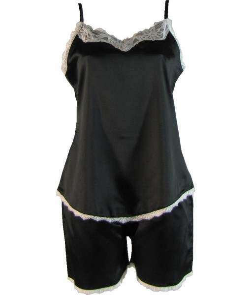 Black Satin Cami Summer Pyjamas