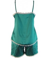 Green Satin Cami Summer Pyjamas