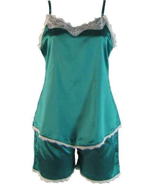 Green Satin Cami Summer Pyjamas