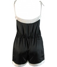 Black Satin Romper Playsuit