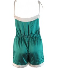 Green Satin Romper Playsuit