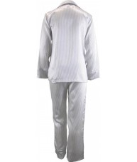 White Satin Pyjamas With Black Pinstripe Winter