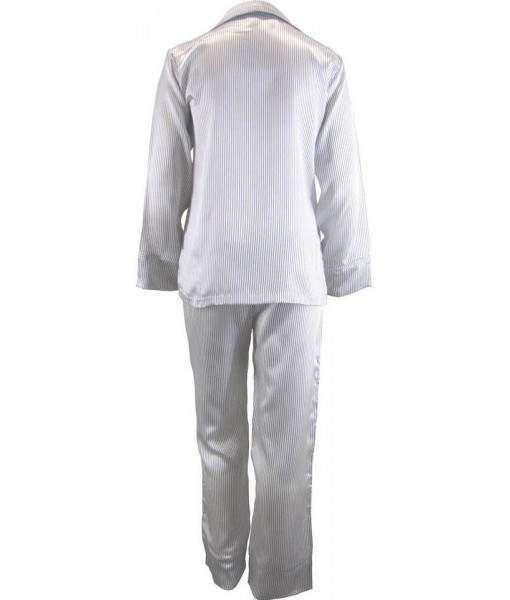 White Satin Pyjamas With Black Pinstripe Winter  bb0aba0c5