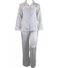 White Satin Pyjamas With Black Pinstripe Winter