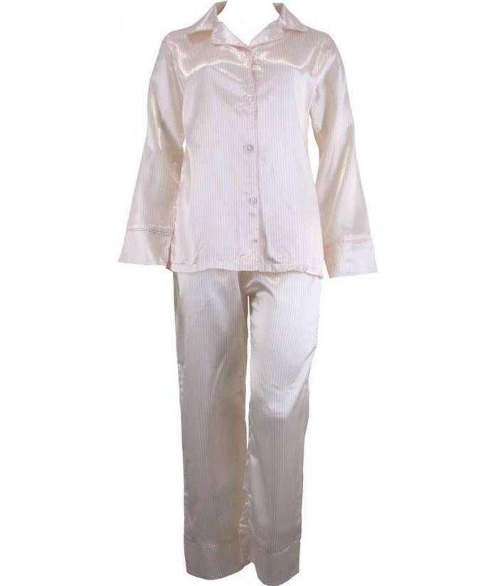Striped Yellow And White Satin Pyjamas Winter  07ef663fa