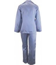 Striped Blue And White Satin Pyjamas Winter