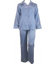 Striped Blue And White Satin Pyjamas Winter