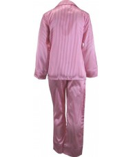 Striped Pink And White Satin Pyjamas Winter