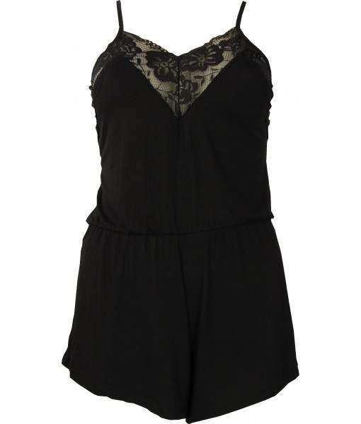 Black Cotton Pyjamas Playsuit With Lace Trim