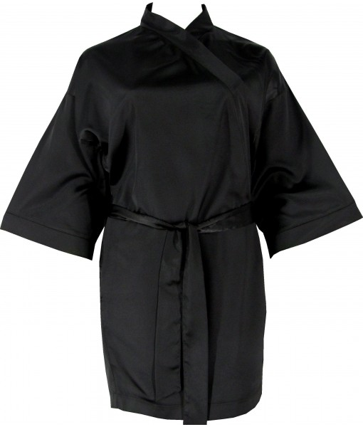 Black Satin Robe / Dressing Gown