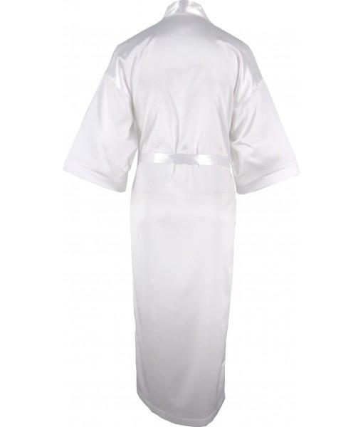 Full Length White Satin Robe / Dressing Gown