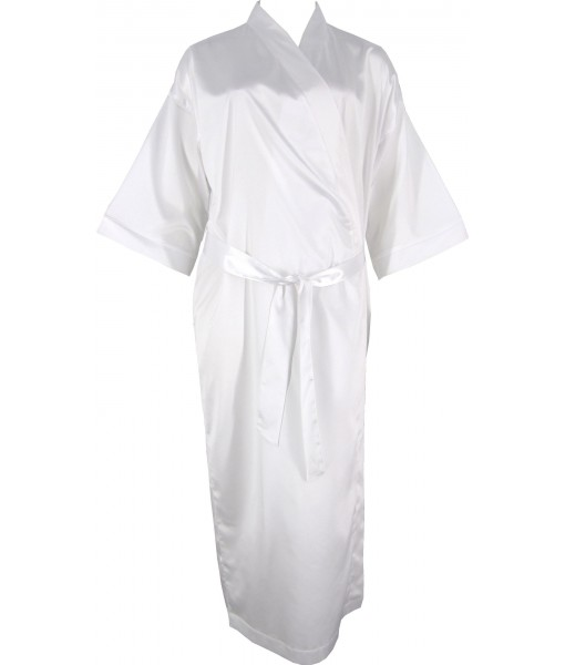 Full Length White Satin Robe / Dressing Gown